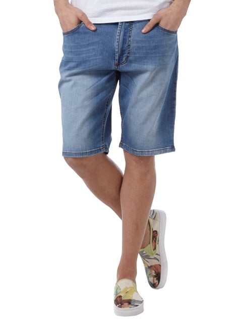 Christian Berg Men Stone Washed Jeansbermudas Bleu meliert - 1