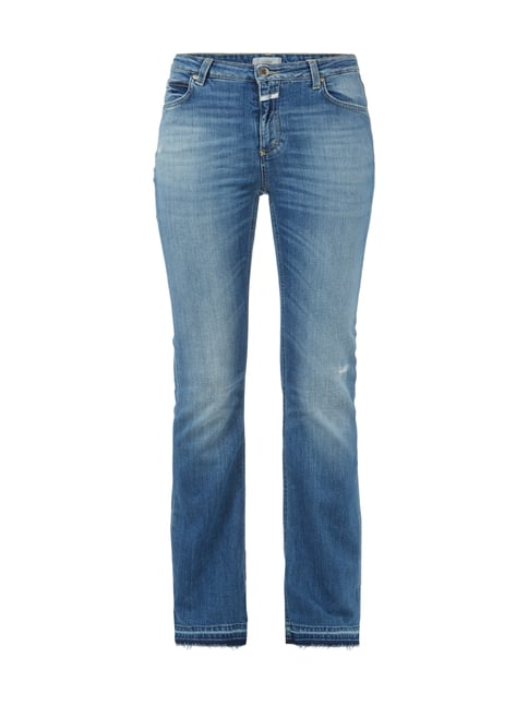 Boot Cut Stone Washed Jeans mit Used Effekten Blau / Türkis - 1