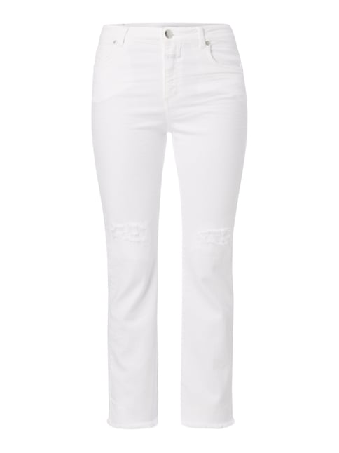 Coloured Slim Fit Jeans mit Destroyed-Effekten Weiß - 1