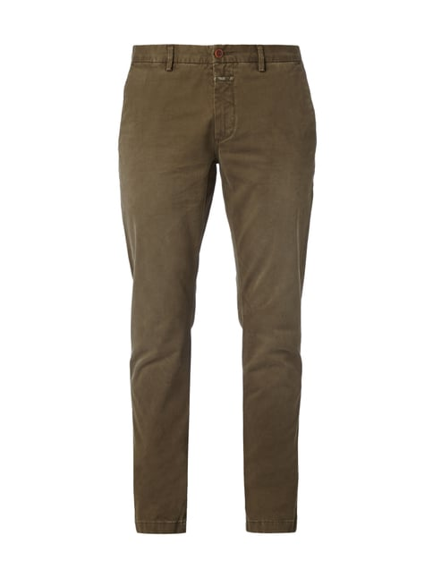 Skinny Fit Chino im Used Look Grün - 1