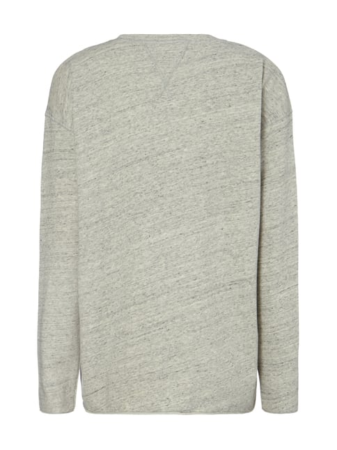 Closed Sweatshirt in Melangeoptik Mittelgrau - 1