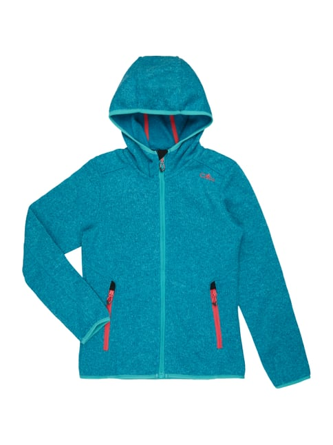 Fleecejacke in Strickoptik Blau / Türkis - 1