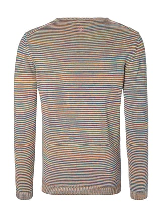 Colours & Sons Pullover aus Mouliné mit Streifenmuster Rostrot meliert - 1