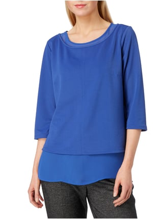comma Blusenshirt im Double-Layer-Look Royalblau - 1