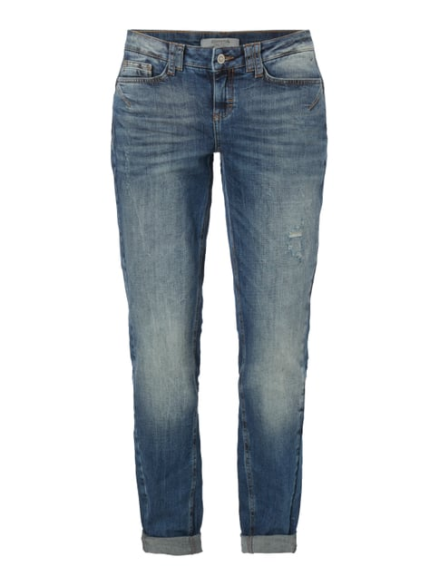 Boyfriend Fit Jeans im Used Look Blau / Türkis - 1