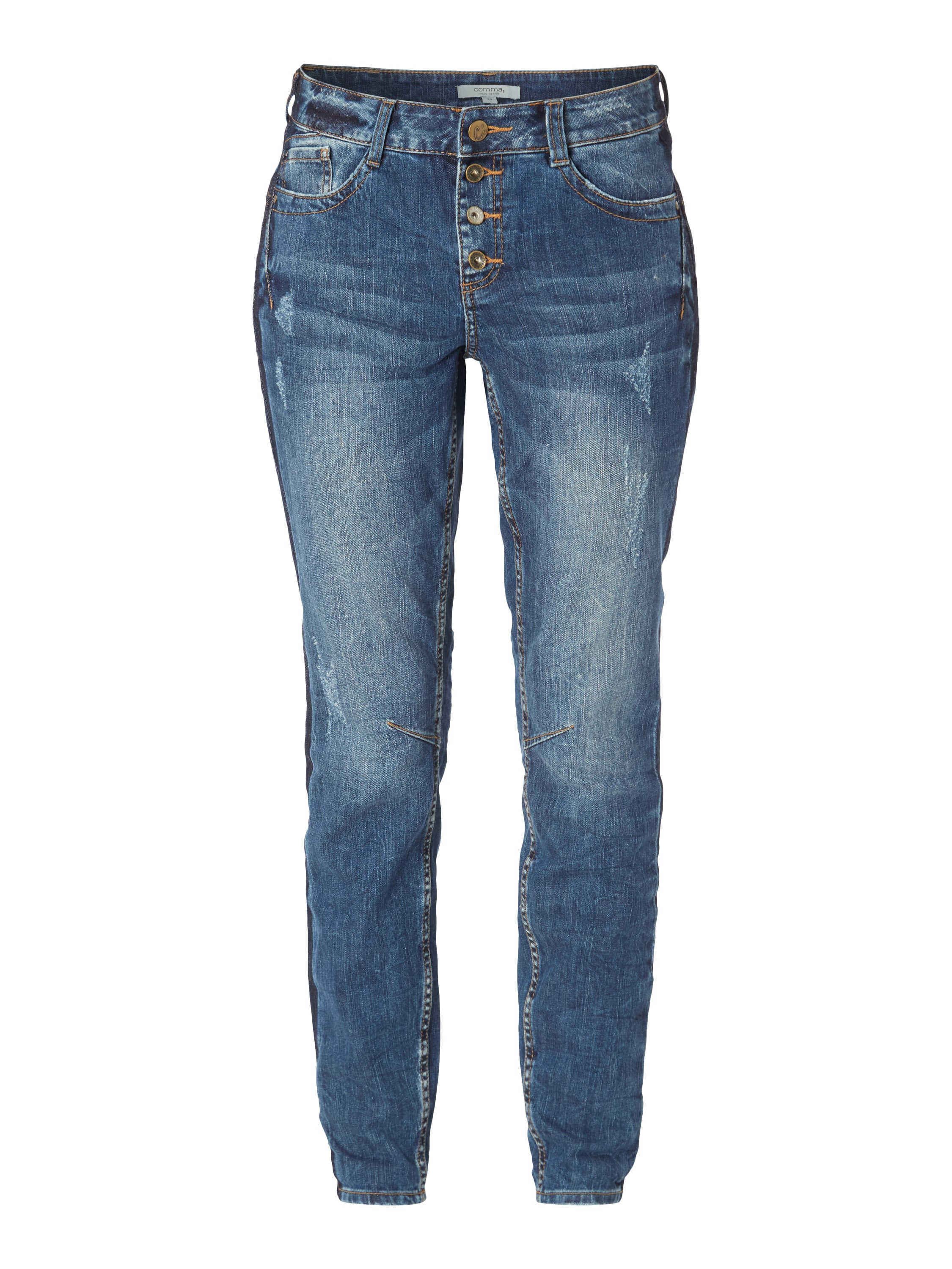 comma casual identity boyfriend jeans im used look in blau t rkis online kaufen 9552703 p. Black Bedroom Furniture Sets. Home Design Ideas