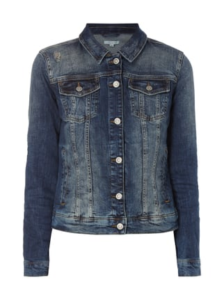 Jeansjacke im Destroyed Look Blau / Türkis - 1