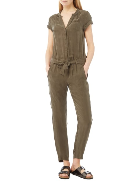 comma Casual Identity Jumpsuit aus Cupro-Viskose-Mix in Grün - 1