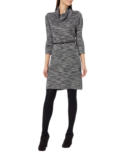comma Casual Identity Strickkleid mit locker fallendem Rollkragen in Grau / Schwarz - 1