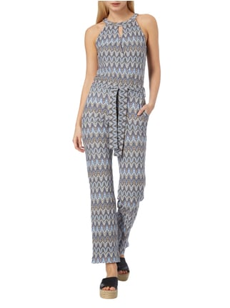 comma Jumpsuit mit Allover-Muster in Blau / Türkis - 1