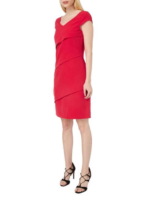 comma Kleid im Stufen-Look in Rot - 1