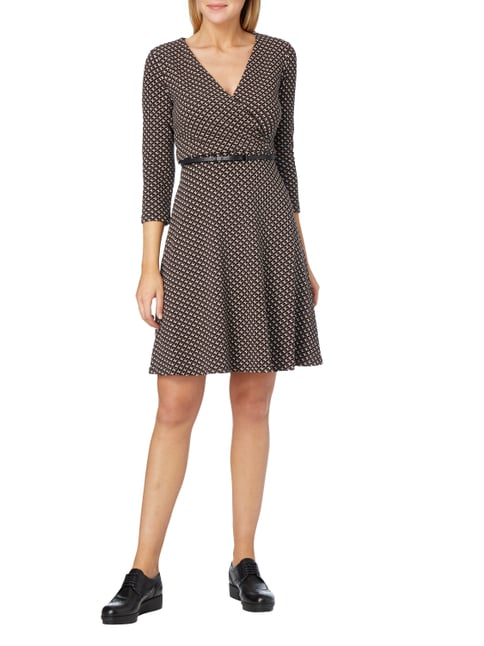 comma Kleid mit floralem Allover-Muster in Braun - 1