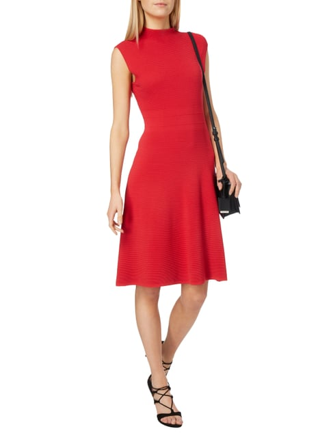 comma Kleid mit Rippenstruktur in Rot - 1