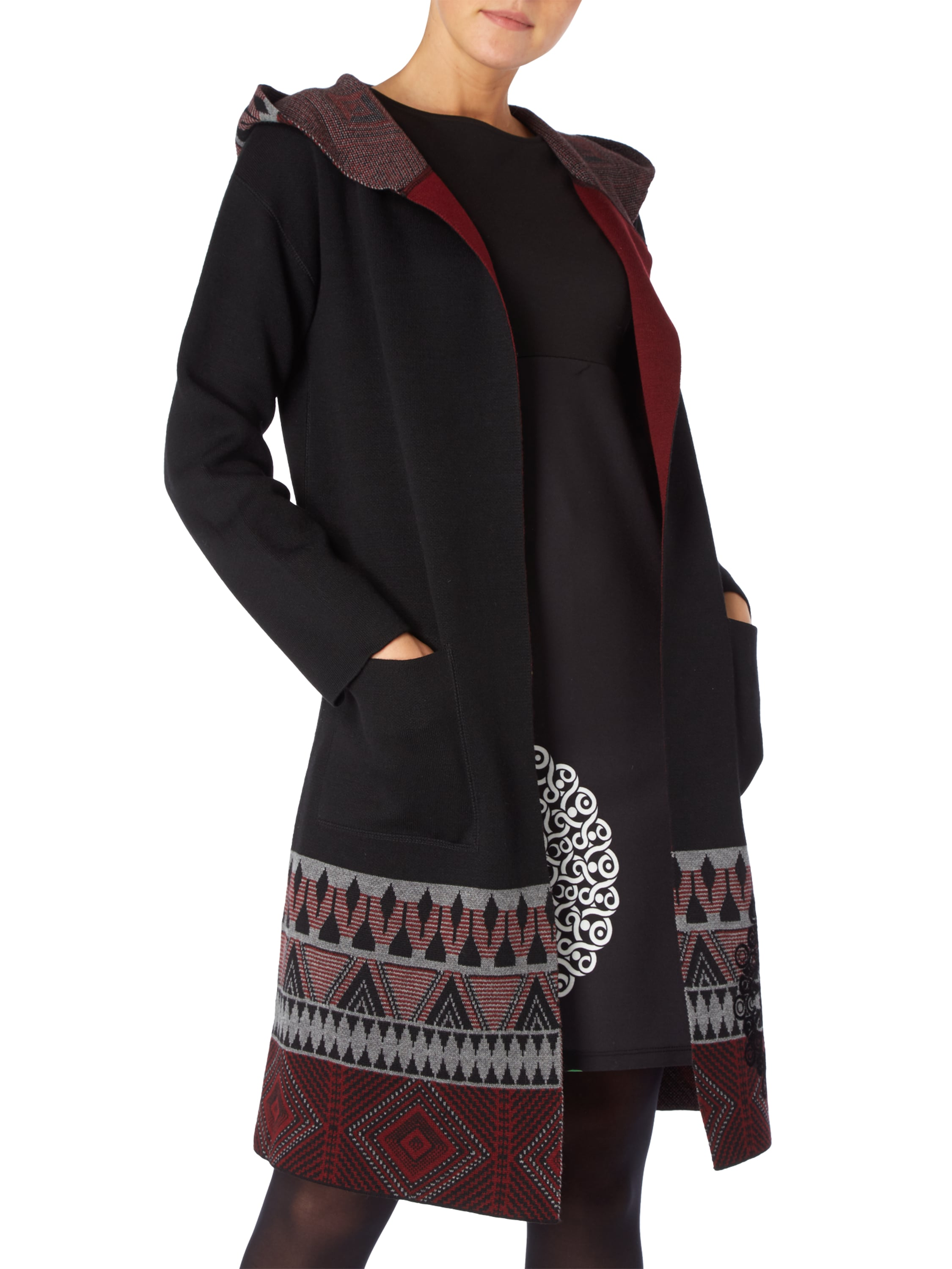 desigual cardigan mit ornamentalen flockprints in grau. Black Bedroom Furniture Sets. Home Design Ideas