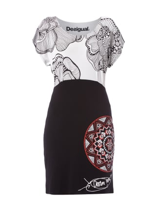 Kleid in Two-Tone-Machart mit Prints Grau / Schwarz - 1