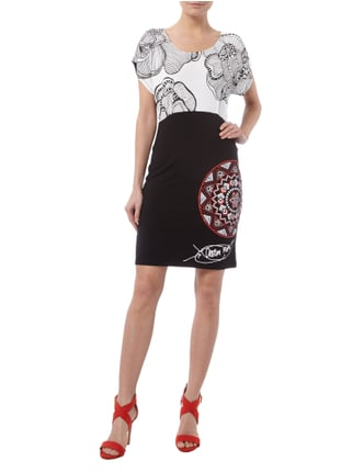 Desigual Kleid in Two-Tone-Machart mit Prints in Grau / Schwarz - 1