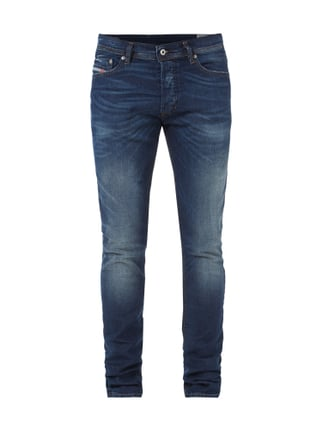 Double Stone Washed Slim-Carrot Fit Jeans Blau / Türkis - 1