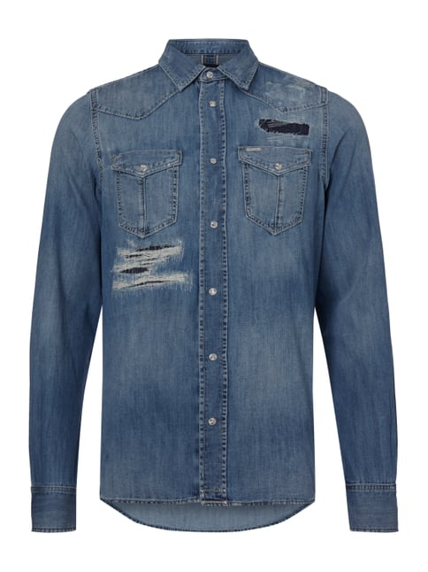 Jeanshemd im Destroyed Look Blau / Türkis - 1
