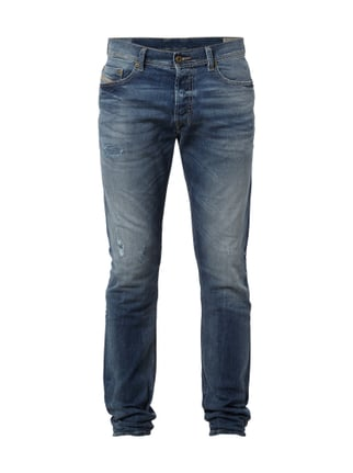 Slim-Carrot Fit Jeans im Destroyed Look Blau / Türkis - 1