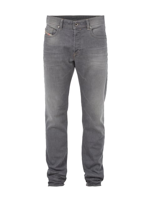 Stone Washed Regular Slim-Tapered Fit Jeans Grau / Schwarz - 1