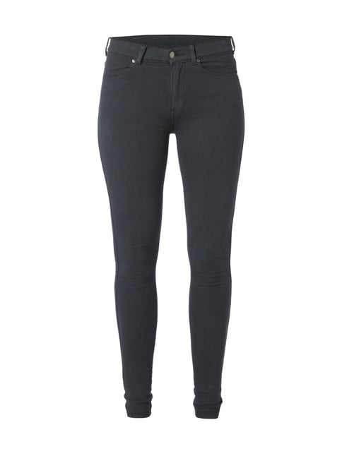 Coloured High Waist Second Skin Fit Jeans Grau / Schwarz - 1