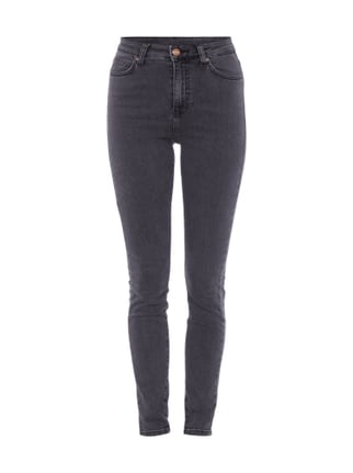 Skinny Fit 5-Pocket-Jeans im Washed Out-Look Grau / Schwarz - 1