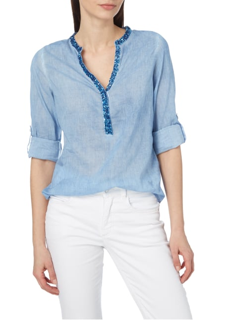 Emily Van den Bergh Blusenshirt im Washed Out Look Blau - 1