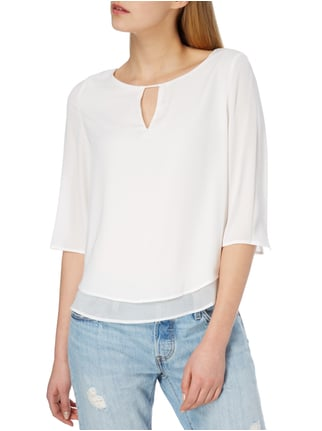 Esprit Collection Blusenshirt mit Saum im Double-Layer-Look Offwhite - 1