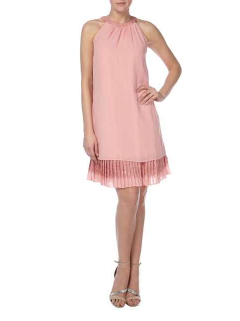 Esprit Collection Cocktailkleid mit Plisseefalten am Saum in Rosé - 1