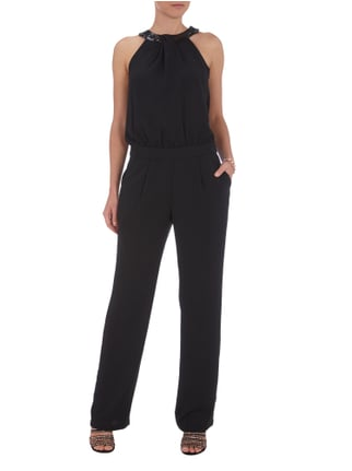 Esprit Collection Jumpsuit mit Collierkragen und Pailletten in Grau / Schwarz - 1