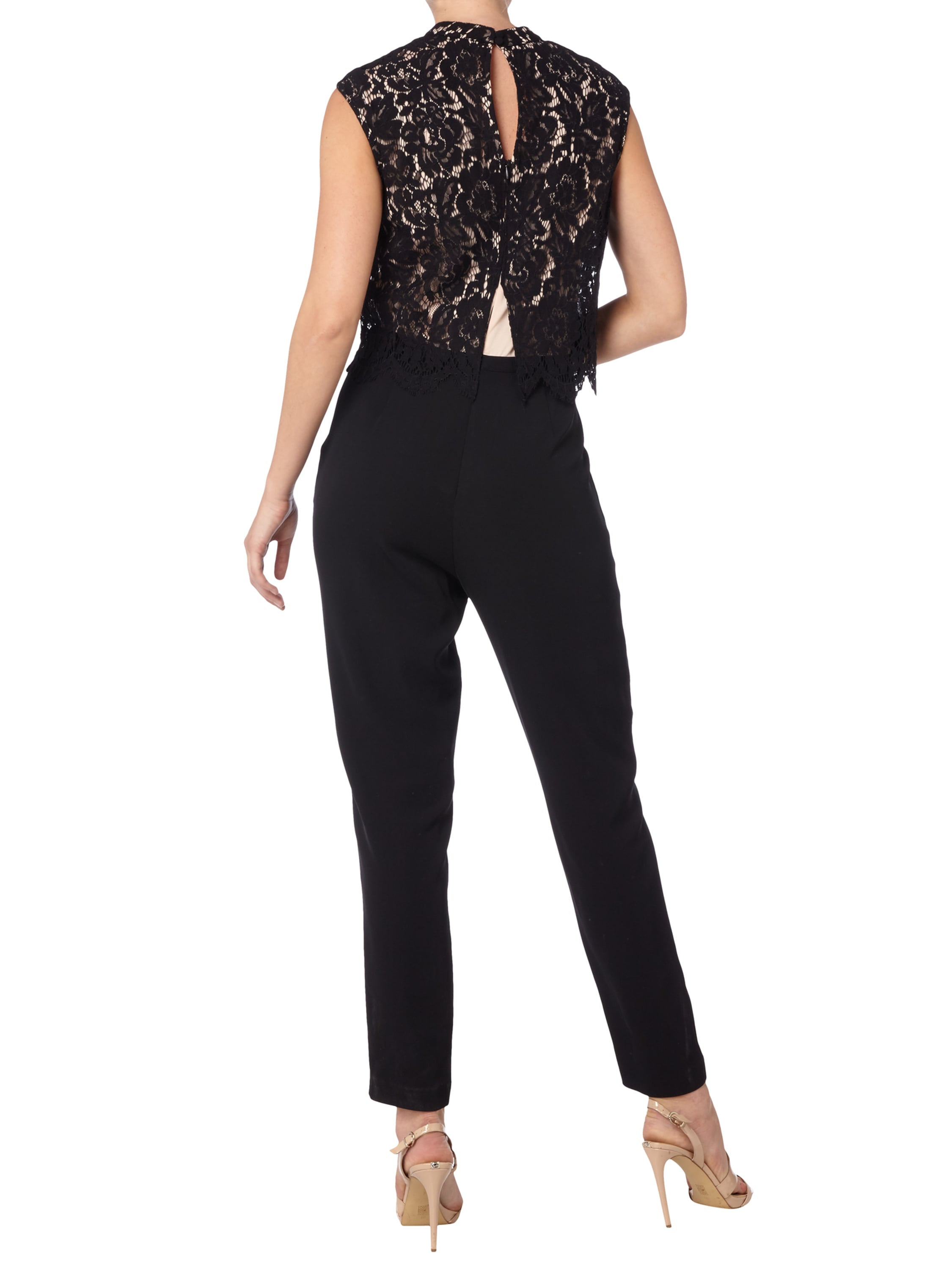 esprit collection jumpsuit mit floraler lochspitze in grau schwarz online kaufen 9534264 p. Black Bedroom Furniture Sets. Home Design Ideas