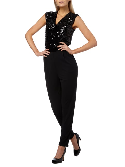 Esprit Collection Jumpsuit mit Oberteil in Wickeloptik in Grau / Schwarz - 1