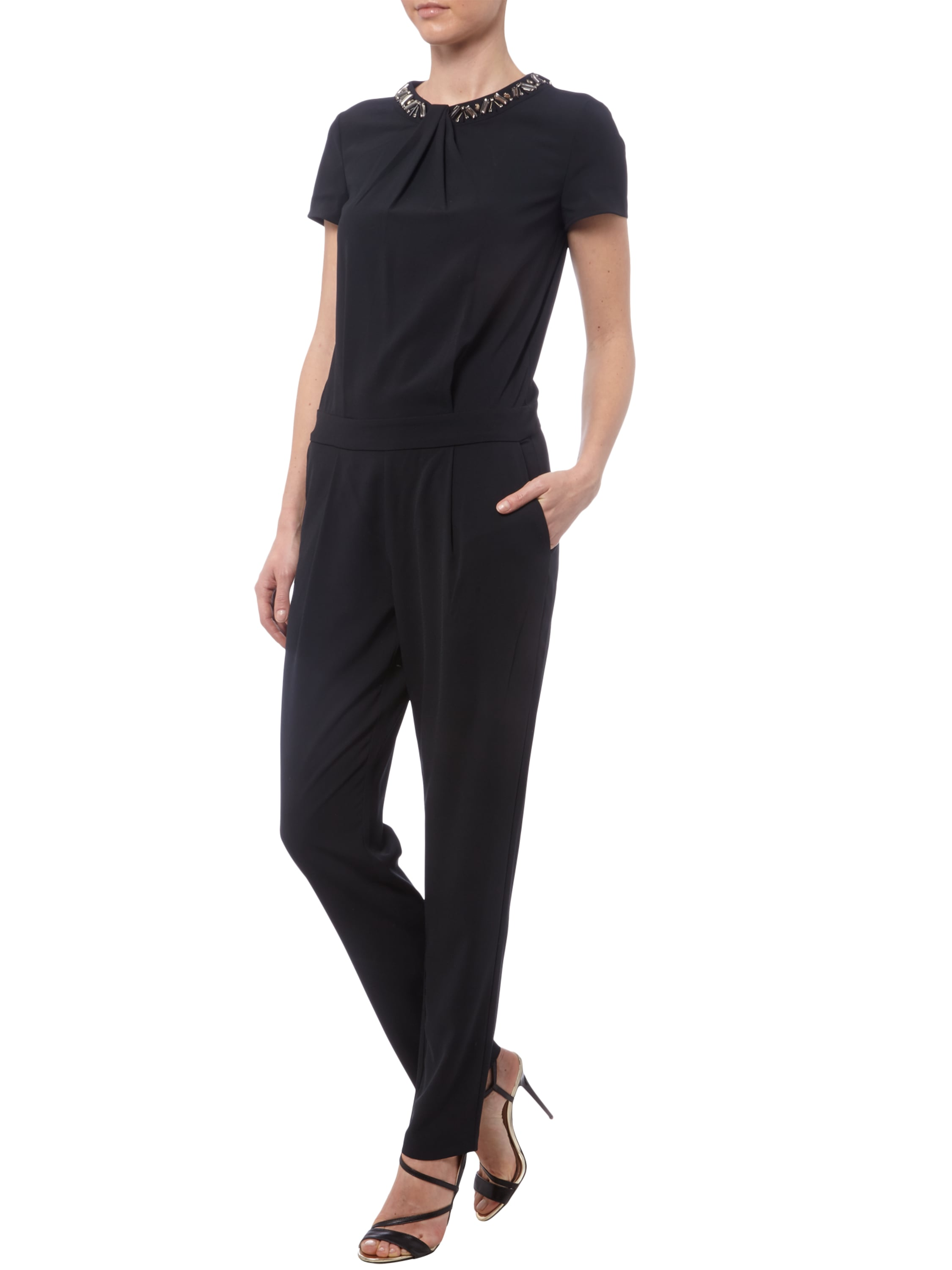 esprit collection jumpsuit mit ziersteinbesatz und drapierung in grau schwarz online kaufen. Black Bedroom Furniture Sets. Home Design Ideas