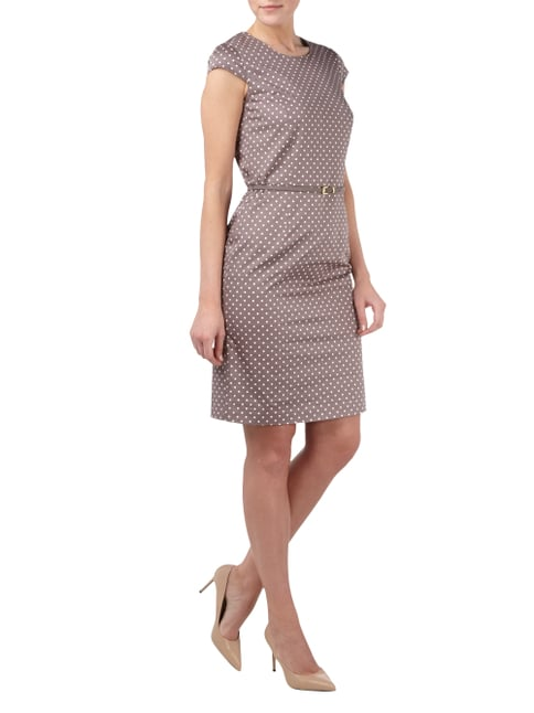 Esprit Collection Kleid mit Polka Dots und Taillengürtel in Braun - 1