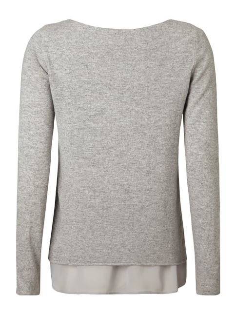 Esprit Collection Pullover im Double-Layer-Look Hellgrau meliert - 1