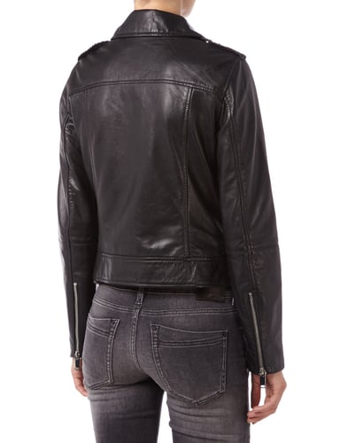 esprit lederjacke im biker look in grau schwarz online. Black Bedroom Furniture Sets. Home Design Ideas