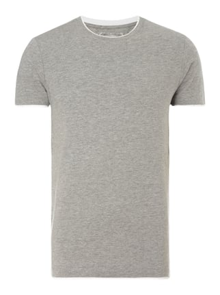 Slim Fit T-Shirt im Double-Layer-Look Grau / Schwarz - 1