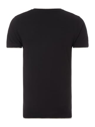 Esprit Slim Fit T-Shirt im Double-Layer-Look Schwarz - 1