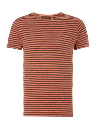 Slim Fit T-Shirt mit Streifenmuster Orange - 1