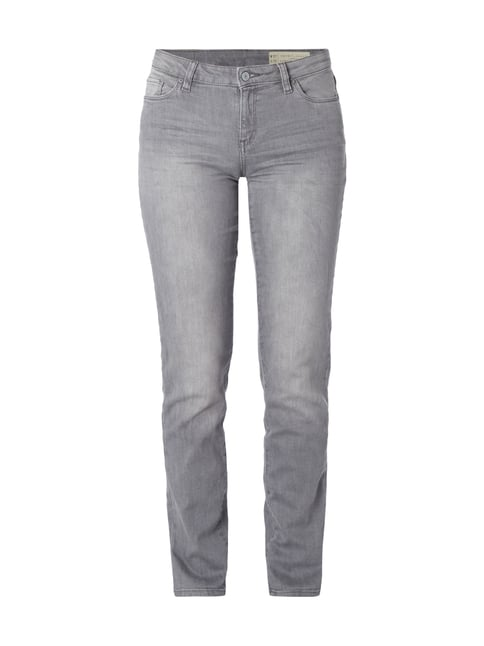 Stone Washed Straight Fit Jeans Grau / Schwarz - 1