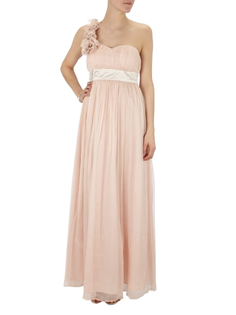 Fever London One-Shoulder-Abendkleid aus reiner Seide in Rosé - 1