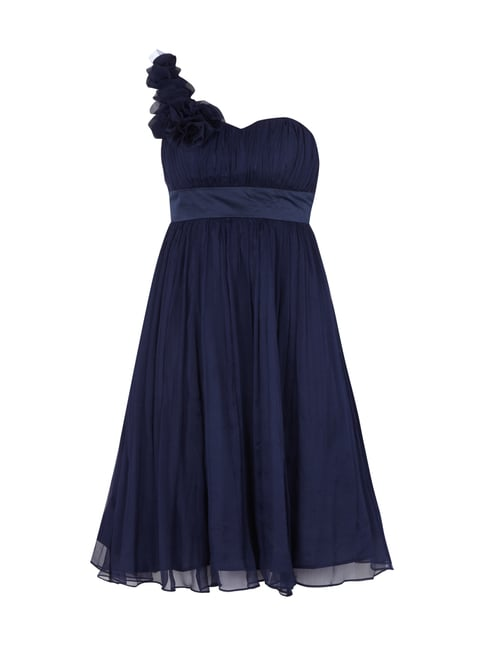 One-Shoulder Cocktailkleid aus Seide Blau / Türkis - 1