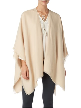 Fraas Poncho mit Fransen am Saum Offwhite - 1