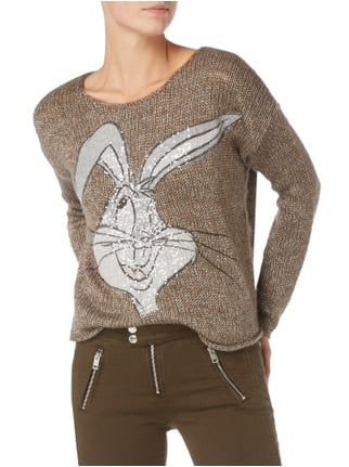 Frog Box Oversized Pullover mit Bugs Bunny-Print Taupe - 1