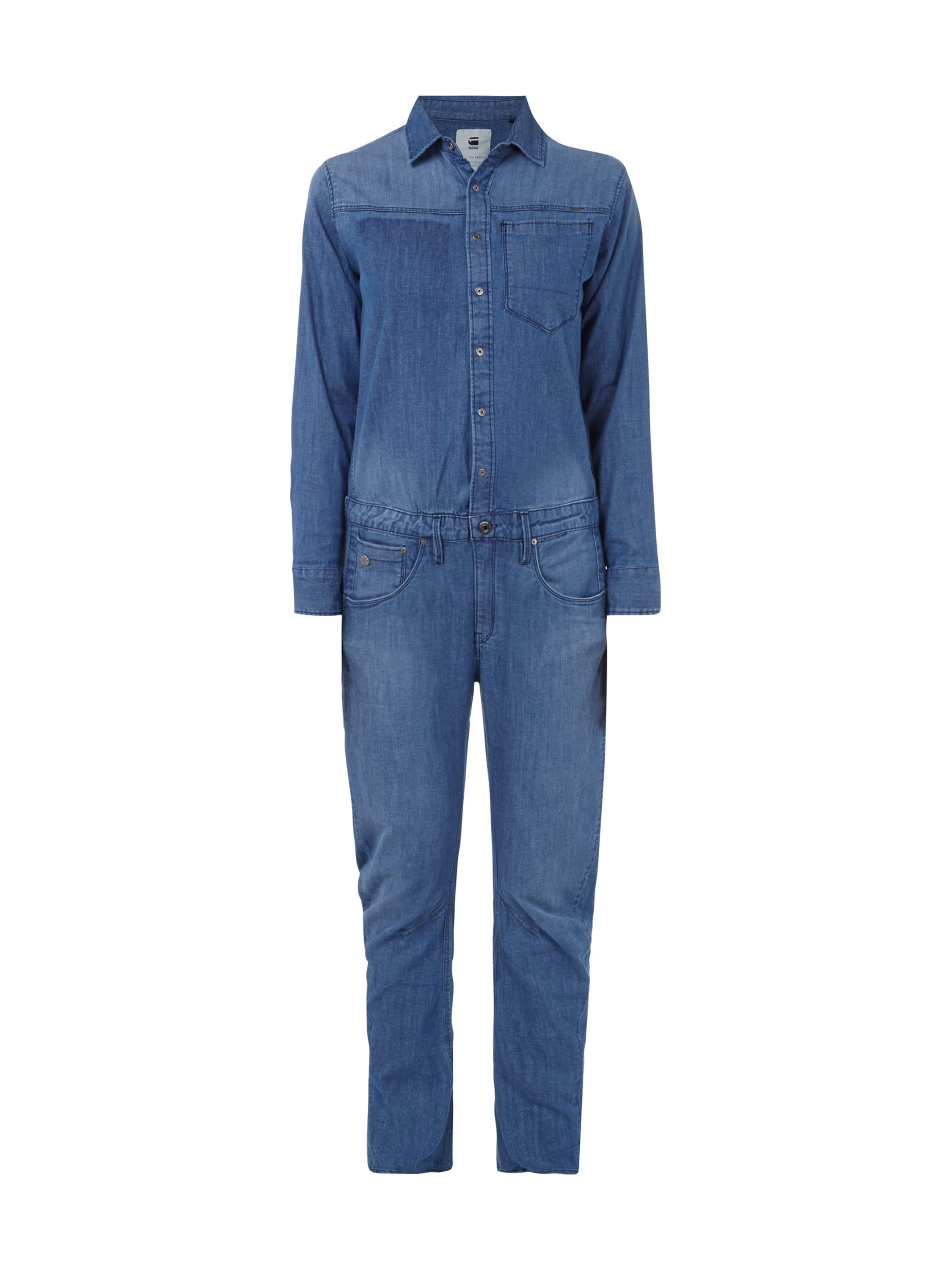g star raw overall aus stretch denim in blau t rkis online kaufen 9396500 p c online shop. Black Bedroom Furniture Sets. Home Design Ideas