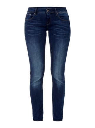 Stone Washed Skinny Fit 5-Pocket-Jeans Blau / Türkis - 1