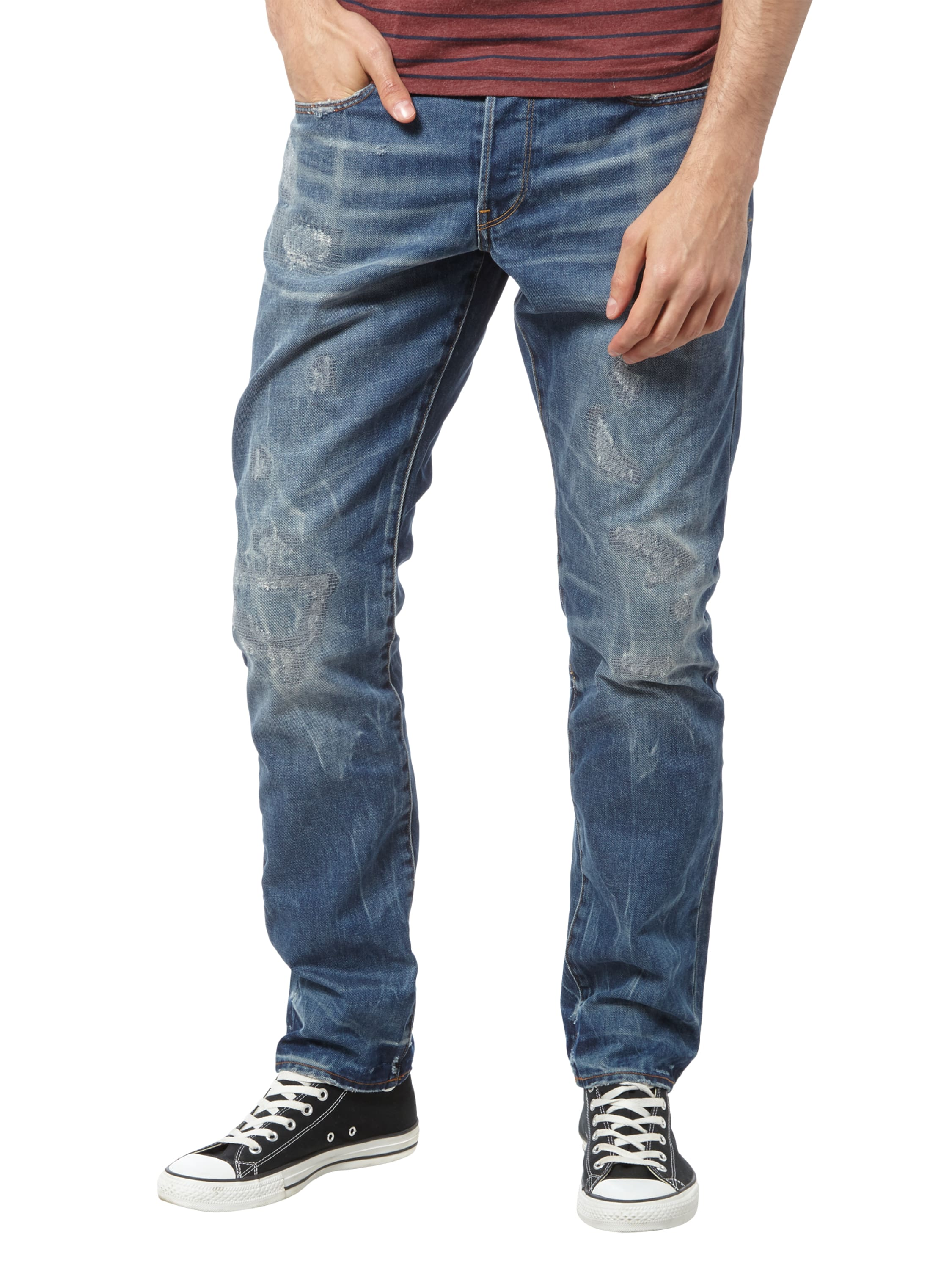 g star raw tapered fit jeans im destroyed look in blau t rkis online kaufen 9471004 p c. Black Bedroom Furniture Sets. Home Design Ideas