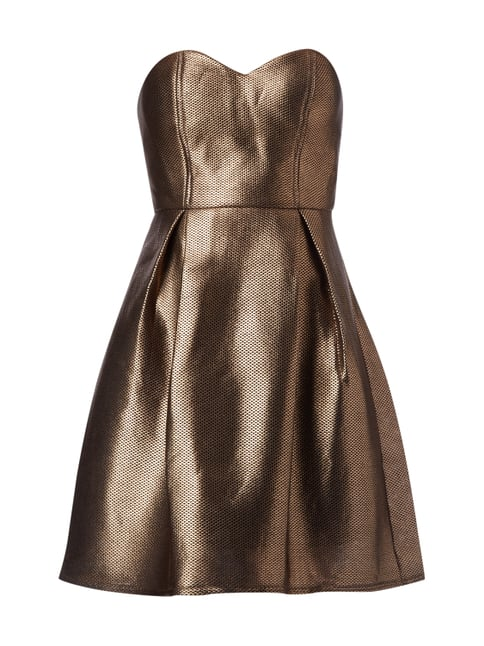 Cocktailkleid in Metallicoptik Braun - 1