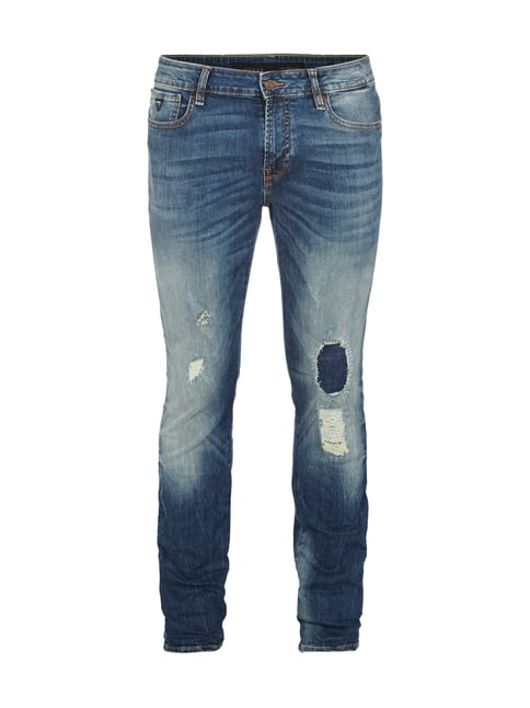Destroyed Look Skinny Fit 5-Pocket-Jeans Blau / Türkis - 1