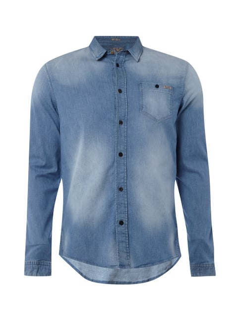 Slim Fit Stone Washed Jeanshemd Blau / Türkis - 1